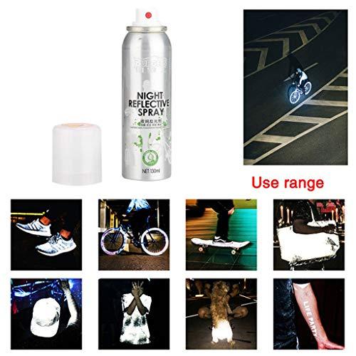 Hunpta@@ - Spray Notturno per Bicicletta, Fosforescente al Buio, Vernice Spray Riflettente per la Notte di Sicurezza, Anti incidenti Silver