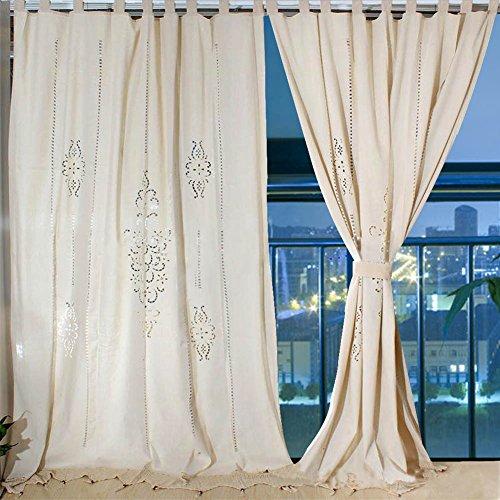 Aparty4u Große Leinenvorhänge, Floral Cotton Crochet Tape Top Vorhänge Schlafzimmer Blackout Panels für Fenster 102