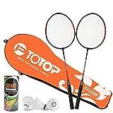 Outdoor-Badminton-Schläger Ferroalloy Badminton-Beutel 3 Ball-Trainingsschläger-Unterhaltungs-Schläger (1 Satz) , black , 2