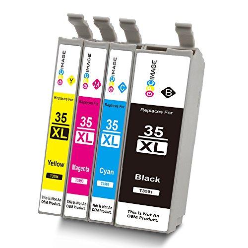 GPC Image 4 Pack Kompatibel Druckerpatronen Ersatz für Epson 35XL 35 XL für Epson WorkForce Pro WF-4720DWF, WF-4725DWF, WF-4730DTWF, WF-4740DTWF Drucker - 1 Schwarz, 1 Cyan, 1 Magenta, 1 Gelb (Toner High-yield 1)