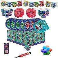 PJ Masks Party Vajilla Kit de fiesta infantil de cumpleaños para 8, 16, 24, 32 - Globos y velas gratis