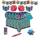 PJ Masks Party Tableware Kit de fête d'anniversaire pour 8, 16, 24, 32 - Ballons et bougies unis gratuits