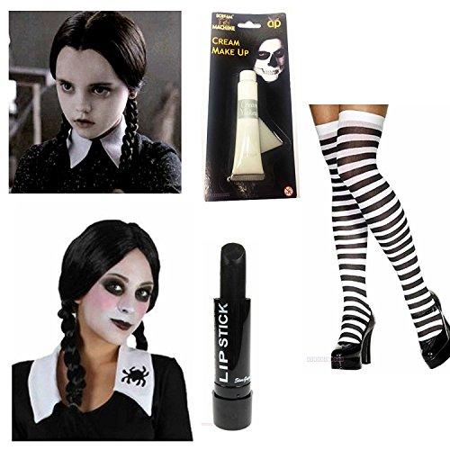 Wednesday Addams Costume Plait Wig Black White Socks Paint Lipstick Halloween