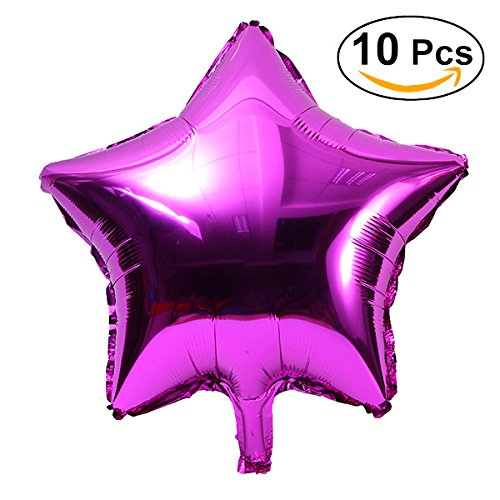 NUOLUX 10pcs aluminio globos estrella de cinco puntos para decoración de fiesta,rojo de Rose,18inch,Mylar