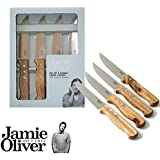 Jamie Oliver Jumbo Steak Knives with Wooden Handles, Set of 4, 24cm