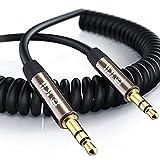Câble Spirale Auxiliaire 1M(2 Pack), Câble Spiral Audio Auxiliaire Premium 3.5mm -...