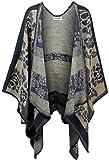KorMei - Elegante poncho invernale da donna, in tartan lavorato a maglia, motivo a quadretti, utile come mantellina o scialle Navy Taglia unica