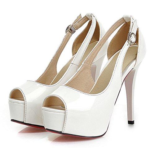 YE Damen Lack High Heels Peeptoe Plateau Stiletto Pumps mit Schnalle Moderne Sandaletten Party Schuhe Rosa