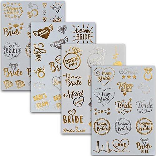 Junggesellinnenabschied Accessoires Team Bride Tattoos | Temporäre Klebetattoos in Gold | JGA Gadget Set für Frauen – von Ahimsa Glow® (Frauen-herz-tag)