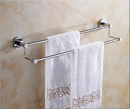 Hlluya Handtuchhalter Das Kupfer Double bar Handtuchhalter Handtuchhalter im Badezimmer Hardware WC Einzel Doppel Pole Nicht - Edelstahl, Messing, 2-polig, gelocht, 60 cm