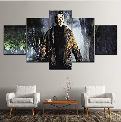 einwand Gemälde Freitag Der 13. 5 Stücke Wandkunst Malerei Modulare Tapeten Poster Home Decor ()