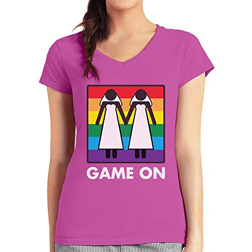 Game On! Ehe für Alle Gleichstellung lesbische Ehe Damen T-Shirt V-Ausschnitt wow rosa