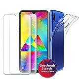 Samsung Galaxy M20 Hülle Panzerglas , [1 Handyhülle 2 Panzerglas] Schutzhülle [Ultra Dünn] Folie Glas 9H Panzerglasfolie TPU Silikon Case Cover Tasche Schale Transparent Crystal für Samsung Galaxy M20