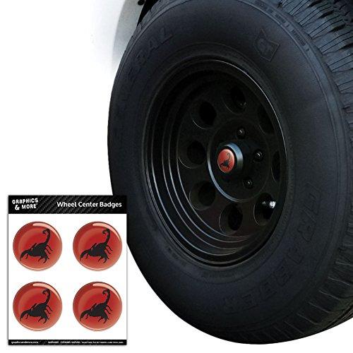 Scorpion Noir sur rouge Pneu Centre de roue Cap Resin-topped badges Stickers