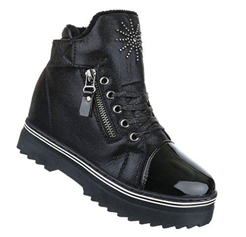 Damen Freizeitschuhe Schuhe Keilabsatz Stiefelette Wedges Sneaker Schwarz Grau 36 37 38 39 40 41 Schwarz