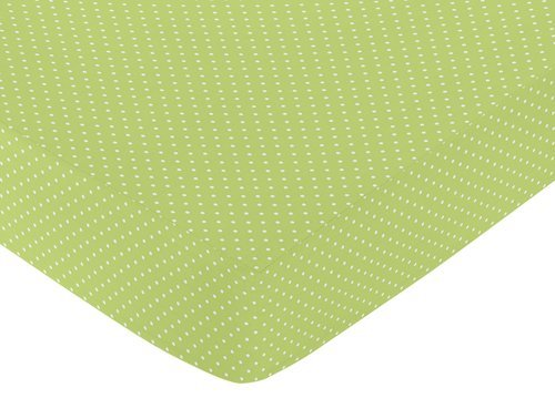 Sweet Jojo Designs Fitted Crib Sheet For Turquoise And Lime Hooty Owl Baby/Toddler Bedding By Sweet Jojo Designs Mini Polka Dot By Sweet Jojo Designs