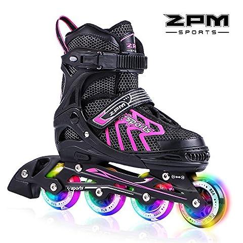 2pm Sports Brice Taille réglable en ligne de patins en ligne à pleine lumière LED roues, Rollers en ligne pour pour Enfants, Femmes et Hommes - Rose M (35-38)