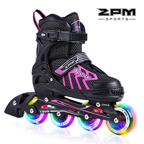 2PM SPORTS Brice Adjustable Light up Inline Roller Skates for Boys And Girls - Pink M(33-36)