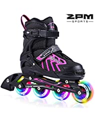 2pm Sports Brice Größe verstellbar Inline Skates für Kinder, Herren und Damen, LED-Räder leuchten nachts auf