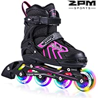 2pm Sports Brice Kids Adjustable Illuminating Inline Skates with Full Light up LED Wheels, Fun Flashing Roller Skates for Boys and Girls