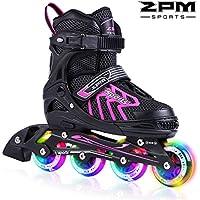 2pm Sports Brice Taille réglable en ligne de patins en ligne à pleine lumière LED roues, Rollers en ligne pour pour Enfants, Femmes et Hommes