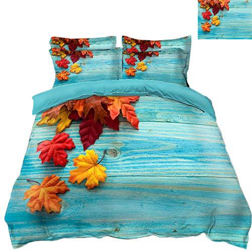 S-vision 3D-Bettwäsche-Set Weihnachten Maple Leaf Muster Bettwäsche-Sets Bettbezug Kissenbezug 4 STÜCKE 1 Bettbezug + 1 Flaches Blatt + 2 Kissenbezug,Queen89*94