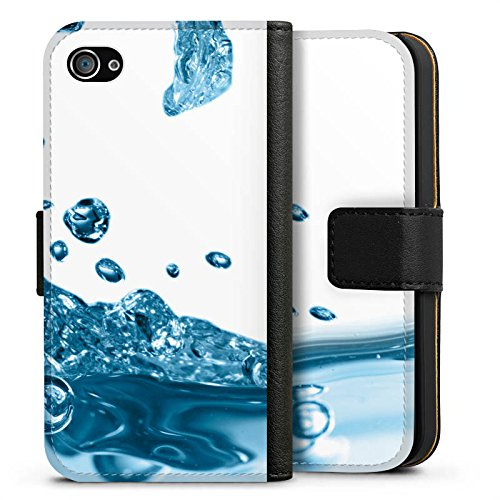 Apple iPhone X Silikon Hülle Case Schutzhülle Wasser Tropfen Welle Sideflip Tasche schwarz