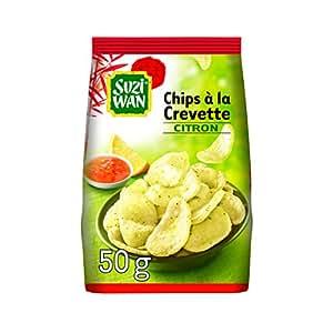 SUZI WAN Chips Apéritif à la Crevette Citron 50 g - Pack de 12 unités