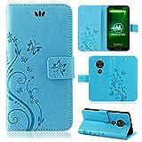 betterfon | Motorola Moto G7 Play Hülle Flower Case Handytasche Schutzhülle Blumen Klapptasche Handyhülle Handy Schale für Motorola Moto G7 Play Blau