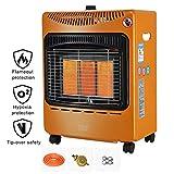 GXFC 4200W Stufa a Gas GPL, con Timer, Ruote Portatili, Riscaldatore a Infrarossi, Protezione di Sicurezza, 3 Livelli di Riscaldamento Regolabili, Arancione