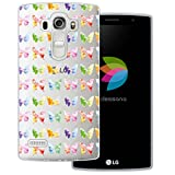 mobilefox® dessana Aquarell Tier Pattern Transparente Silikon TPU Schutzhülle 0,7mm dünne Handy Tasche Soft Case für LG G4 (Mini) Schmetterling