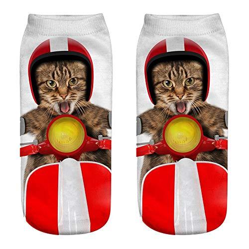 Fatchot Damen-Socken mit 3D-Katzenmotiv, lustig, lässig, niedlich, Bedruckt, Herren, MulticolorH, One Size -