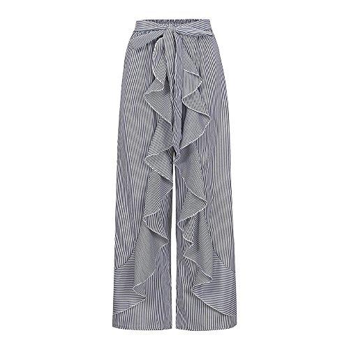 YWLINK 2018 Damen Kleidung,Mode Frauen Sommer RüSchen Gestreiftes Breites Bein Hohe Taille Hosen LäSsige Lange Hosen -