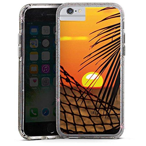 Apple iPhone 6 Plus Bumper Hülle Bumper Case Glitzer Hülle Sonnenuntergang Beach Strand Bumper Case Glitzer rose gold