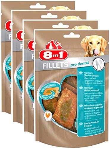 8in1 Fillets Pro Breath Hähnchensnack, funktionale Leckerlies für Hunde, 4er Pack (4 x 80 g)