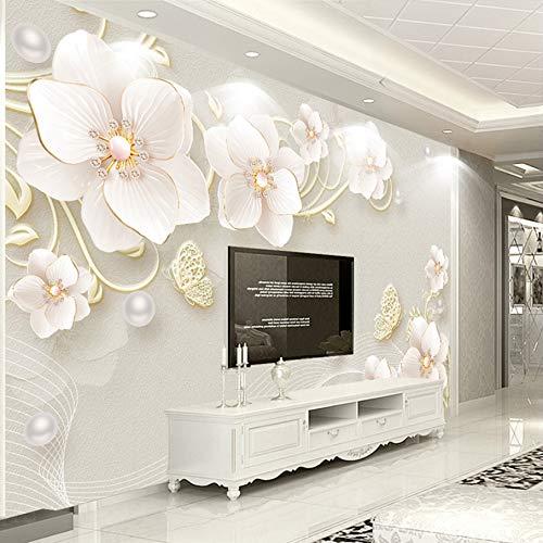 VVNASD 3D Aufkleber Dekorationen Wandbilder Wand Tapete Stereoentlastungs Schmuck Blumen Moderner Einfacher Europäischer Art Wohnzimmer Hintergrund Kunst Kinder Zimmer (W) 300X(H) 210Cm