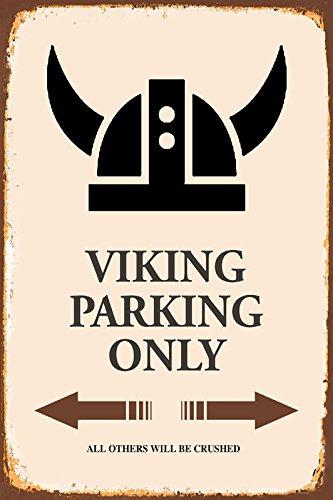 Viking Wickinger Parking only park schild tin sign schild aus blech garage