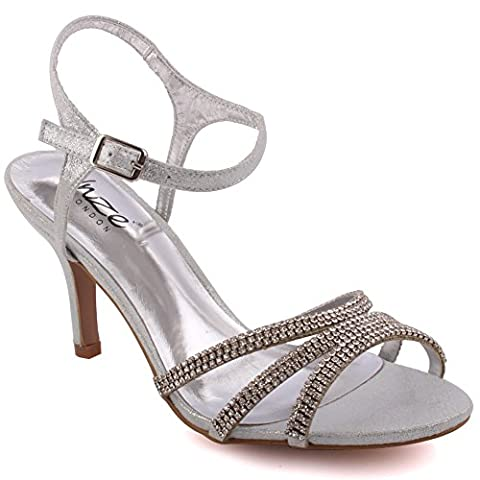 Unze New Women Ladies Folio Metallic Diamante Embellished Ankle Strap Peep Toe Mid High Heel Evening, Wedding, Prom Party Shoes (Silver) (8 UK)