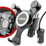 scozzi universal KFZ Einhand Handy Halterung Lüftung + Micro-USB Schnell Ladekabel mit 2400 mAh, Lüftungshalterung Lüftungshalter Lüftung Halter Auto Ladegerät LKW PKW Handyhalterung Handyhalter