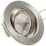 12er-Set LED-Einbauleuchten DECORA 230V - Warm-Weiß - 3 Watt (= 12 x 45 Watt) - Farbe: Edelstahl gebürstet - schwenkbar - COB LED