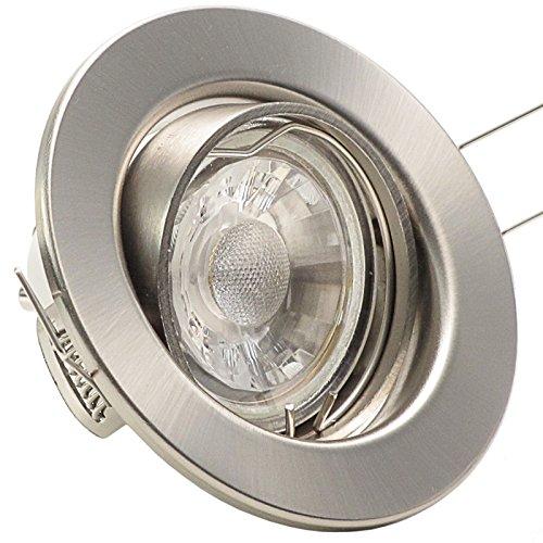 5er Set (3-8er Sets) Einbaustrahler DECORA; 230V; COB LED 3W = 40W; Warm-Weiß; EDELSTAHL OPTIK gebürstet; schwenkbar, Leuchtmittel austauschbar; Einbauleuchte Einbauspot Downlight -