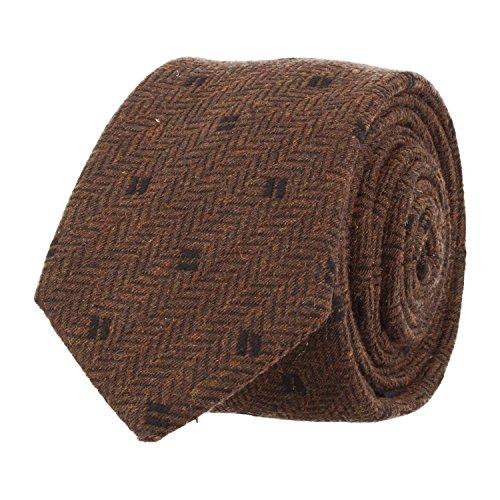 OTTO KERN estrecho lazo de corbata club de color marrón oscuro 6,5 cm