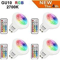 Lampadine LED RGB GU10 3W Colorate Cambia Dimmerabile Faretti LED con telecomando, 12 Colori + Bianco Caldo 2700K, 200LM, AC85-265V, per applique, plafoniera, plafoniera da incasso (4 lampadine + 4 telecomandi)