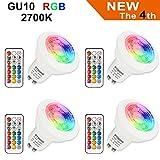 Bombilla LED Colores GU10 3W RGB LED Foco Multicolor Bombillas con mando, 12 colores + Calido Blanca 2700K, 200lm, AC85-265V, para Aplique, Lámpara de riel, Luz de techo empotrada (4 bombillas + 4 controles remotos)