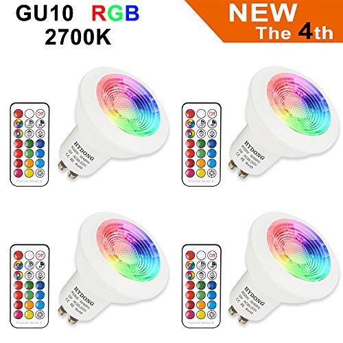 LED Lampe GU10 RGB+Warmweiß Farbwechsel Spot Licht Dimmbar 3W, 200LM, AC 85V - 265V, mit IR-Fernbedienung für Wandleuchte, Schienenleuchte, Deckeneinbauleuchte (4 Lampen + 4 Fernbedienungen) (3w Led-licht)