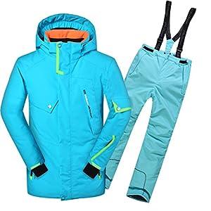 emansmoer Kinder Jungen Skianzug Wasserdicht Outdoor Wintersport Snowboardingjacke Baumwolle gepolstert Mantel mit Schneehose Salopettes