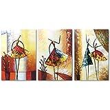 Raybre Art® 100% Pintada a Mano sobre Lienzo Nuevo Cuadros Modernos Arte Pared Pintura al óleo Abstracta Grandes Bailarina Danza Para Decoración Hogar Sala Cocina, con Bastidor de madera ( 3 pcs/set Bailarinas)