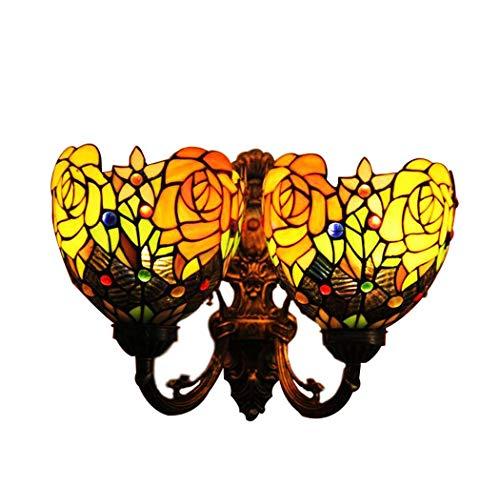 Tiffany Stil Wandleuchte, Hand-geschweißte Rose Designcolored Glas Wandleuchten, Wohnzimmer Esszimmer Studie Schlafzimmer Bedside Retro Wandleuchte yd&h -