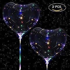 Idea Regalo - 5 PCS Guidato Palloncino, Guidato Trasparente Palloncino Per Natale Nozze Festa decorazioni Vacanza Con Maniglia (2 PCS Palloncino Cuore)