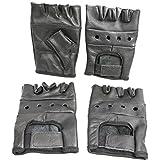 First MFG Black Leather Heavy Duty Lightweight Fingerless Gloves Pack Of 2 (L)